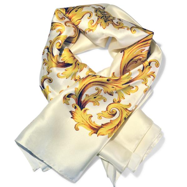 foulard classico in pura seta bianco e oro